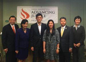 From left to right: Stewart Kwoh, Advancing Justice - LA; Congresswoman Judy Chu, Professor Xiaoxing Xi; Joyce Xi; Congressman Ted Lieu; Qi Li (photo by Asian Americans Advancing Justice-LA).