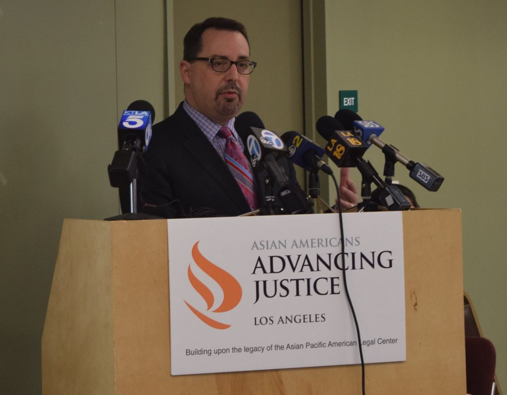 Los Angeles County Registrar-Recorder/County Clerk, Dean C. Logan speaks on ensuring safe polling places in LA County for all voters on Election Day (Photo by AAAJ).